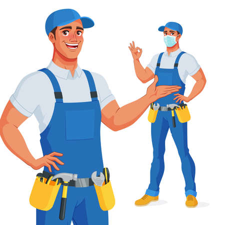Handyman in overalls and tool belt presenting and showing OK. Vector illustration.