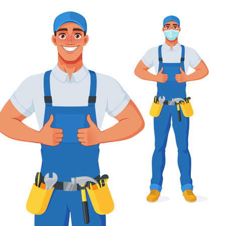 Handyman in overall and tool belt showing thumbs up. Vector cartoon character.