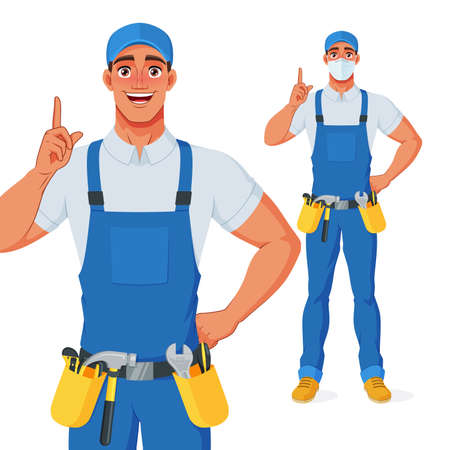 Handyman in overall and tool belt pointing finger up to give advice. Vector cartoon character.