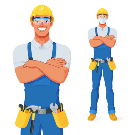 Handyman in bib overalls, hard hat and protective glasses with arms over chest. Vector cartoon character.