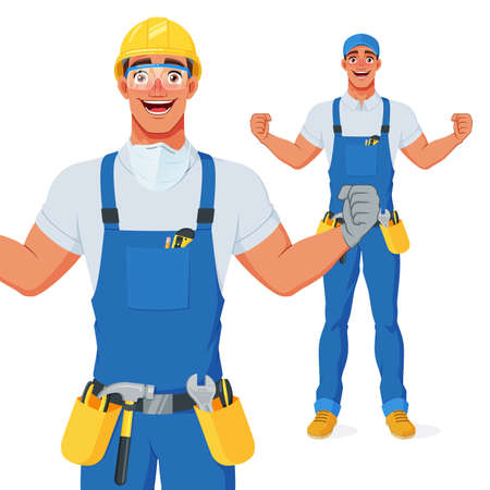 Excited handyman in hard hat and protective eyewear celebrating success with raised arms. Cartoon vector character. Иллюстрация