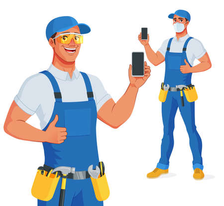 Handyman in bib overalls and protective glasses showing blank smartphone screen with thumb up. Vector cartoon character.