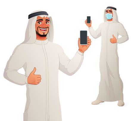 Arab man showing blank smartphone screen with thumb up. Vector cartoon character.