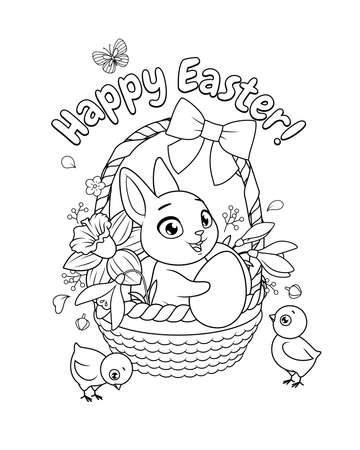 Bunny and chicks with basket full of flowers and eggs. Easter greeting with vector illustration for coloring book page. Иллюстрация