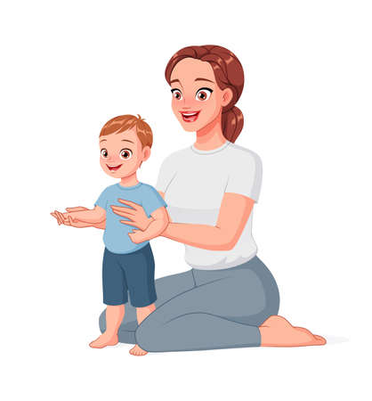 Mother helping her child to take first steps. Cartoon vector illustration.