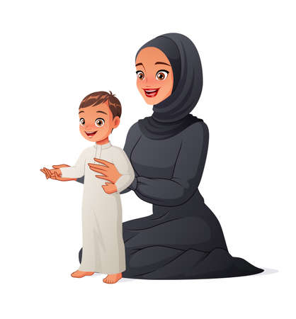 Arab mother helping her child to take first steps. Cartoon vector illustration. Иллюстрация