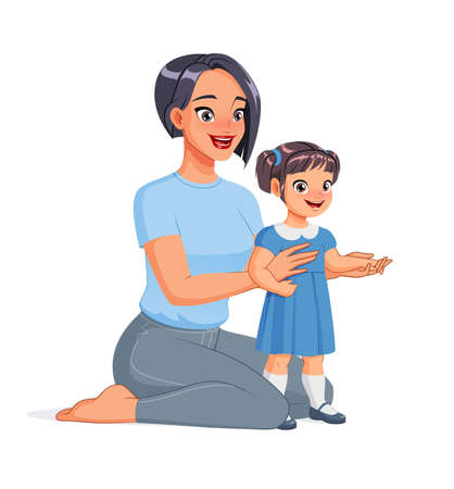 Mother sitting on the floor with her toddler. Cartoon vector illustration.