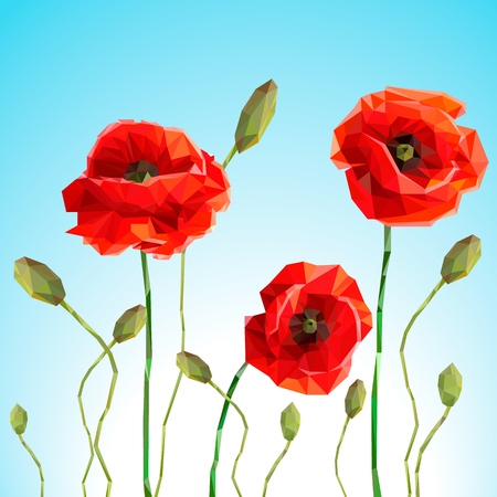 Vector background or card. Poppy and sammer day with blue skyVector background or card. Vector background or card. Poppy and sammer day with blue sky