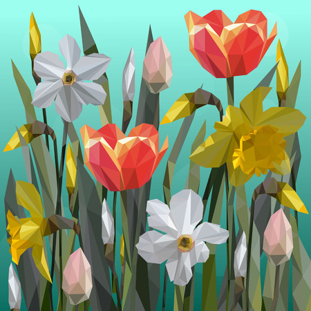Vector of daffodil and tulips flowers isolated. Women s Day Stock Illustratie