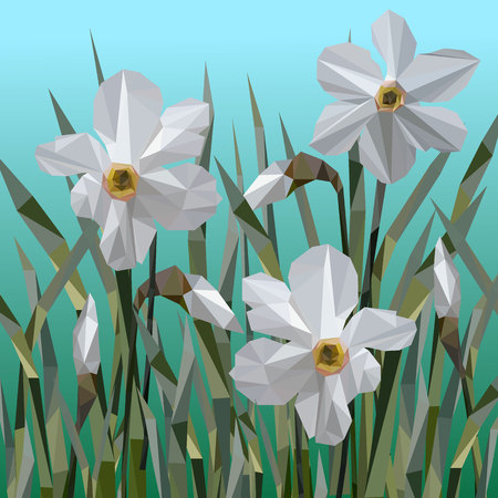 Vector of daffodil flowers isolated. Women s Day