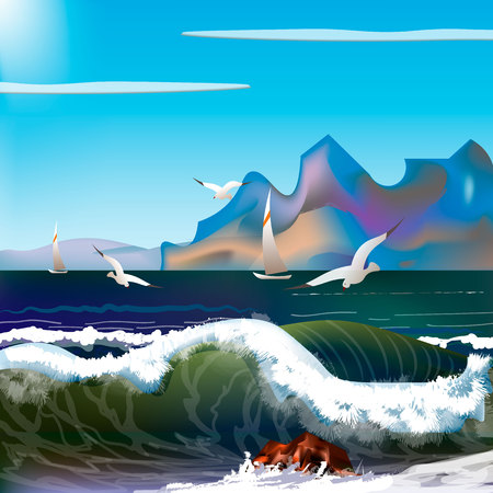 sea with waves and mountains