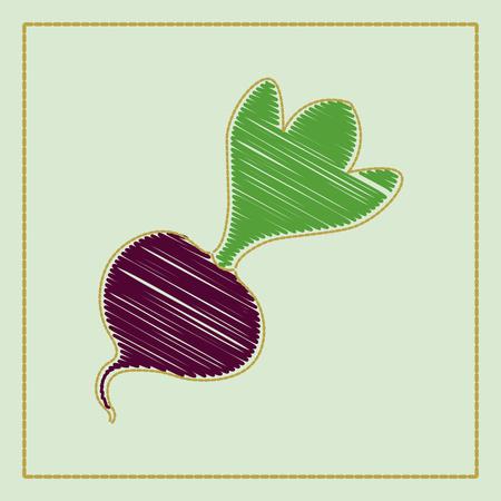 Collection d'illustration vectorielle dessinés à la main de légumes sur un fond sombre style de dessin animé ou de broderie décorative. Concevez le mieux pour des affiches, des bannières, des cartes, un menu de restaurant. Style original de légumes sous broderie
