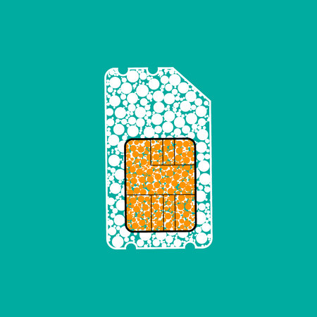 Sim card icon. Flat design style modern vector illustration. Isolated on stylish color background. Flat long shadow icon. Elements in flat design. Illustration