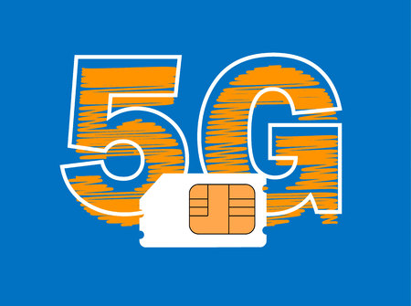 5G Sim Card. Mobile telecommunications technology symbol. Illustration