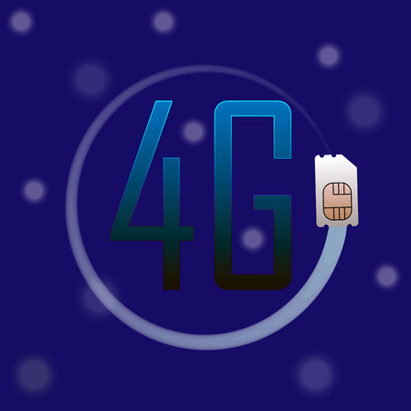 4G Sim Card, mbile telecommunications technology symbol. Speed data downloading cycle.