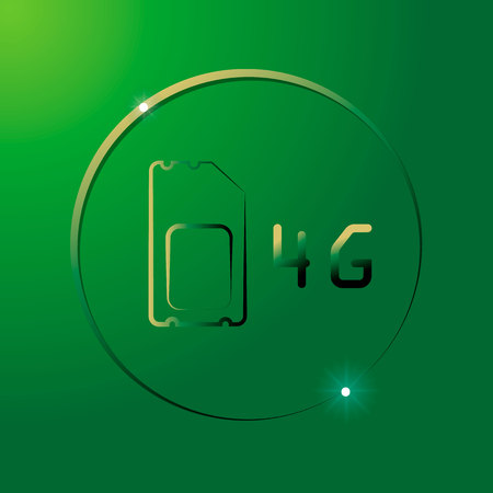 4G Sim Card. Mobile telecommunications technology symbol. Speed data downloading cycle Illustration