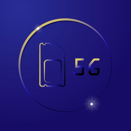 5G Sim Card. Mobile telecommunications technology symbol. Speed data downloading cycle Illustration