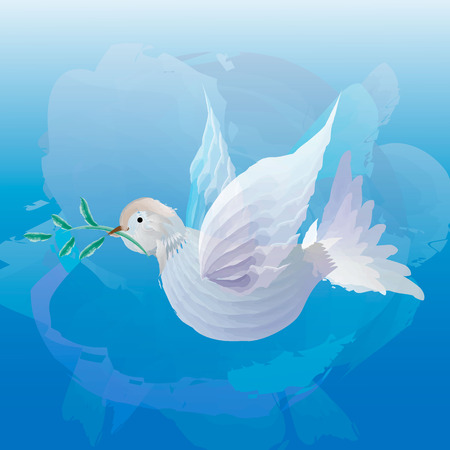 white dove with olive sprig on powder blue background. Icon isolated on blue. Peace vector symbol. International Peace day sign.