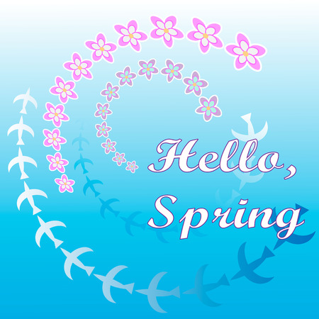 Hello spring greeting card. Hand drawn illustration with wood background effect. Flower wreath and lettering.