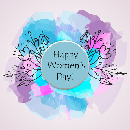 Happy Womans day text as celebration badge, tag, icon. Text card invitation, template festivity background. Lettering typography poster banner on textured background vector illustration.