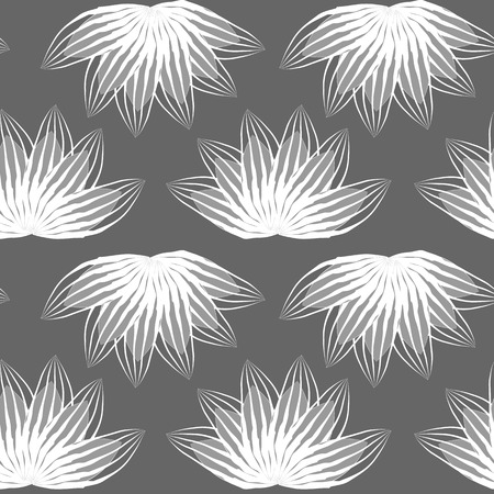 Geometric seamless pattern, abstract tiling background, vector repeat endless wallpaper illustration. Floral leaves or fish squama shapes trendy motif. Single color, gray and white. Illustration