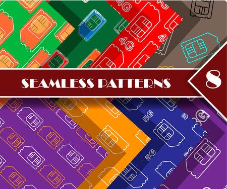 4g, 5g, 3g sim card. Vector SIM Cards Seamless Pattern set Stock Photo
