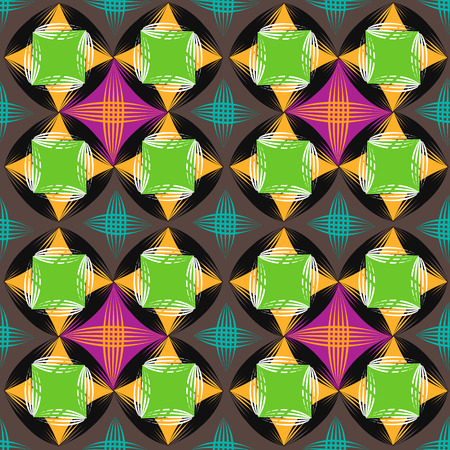 Seamless vector geometric striped pattern background. Colored geometric seamless pattern of rhombuses and lines