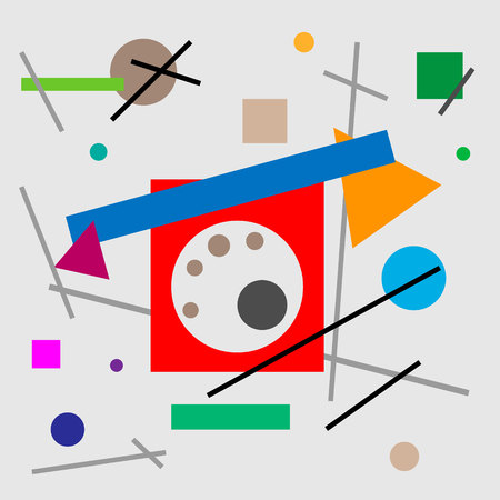 Illustration of retro phone with dial-up. Geometric illustration of retro phone cubism supermatism. A square, a circle of a line. Stylization for the works of Malevich in the style of Cubism futurism Suprematism.