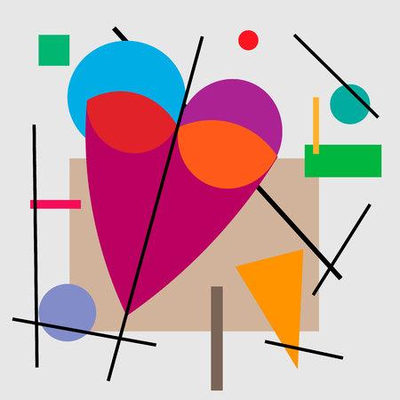 Illustratie van hart, valentijnskaart. Geometrische illustratie van het hart van het kubisme Supermatisme.