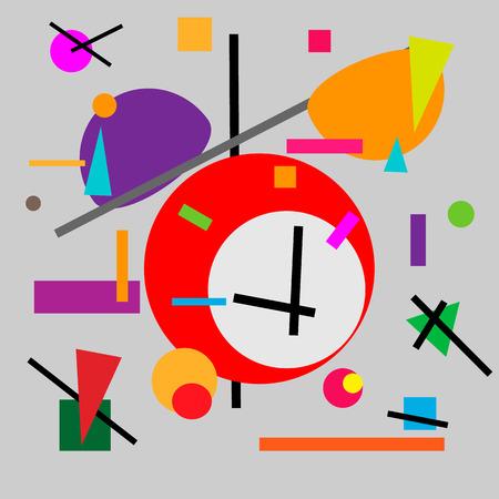 Geometric illustration of retro alarm clock 일러스트