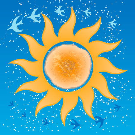 Flat vector cartoon orange pancake, round symbol of sun, sign for Shrove tide event or festival. Russian traditional holiday Maslenitsa. The arrival of spring and the departure of winter. Migratory birds return. Illustration
