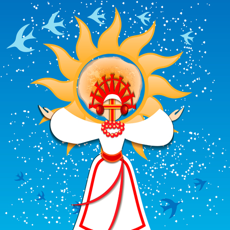 Russian traditional holiday Maslenitsa. The arrival of spring and the departure of winter. Migratory birds return. Symbol of the Russian holiday Pancake week. The arrival of spring and the departure of winter. Migratory birds return. The image of the Maslenitsa girl on the background of the sun.Vector illustration Illustration
