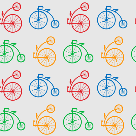Seamless pattern with retro big wheel bicycles. multicolored antique old bicycle with big wheels Penny-farthing.
