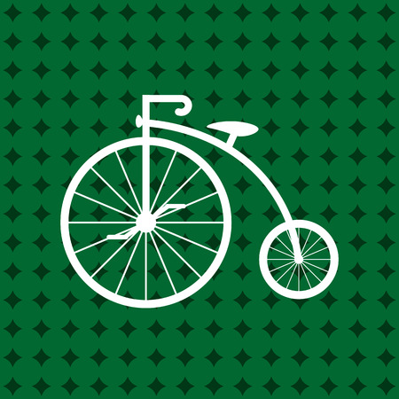 Penny-farthing icon white isolated on green background. antique old bicycle with big wheels.