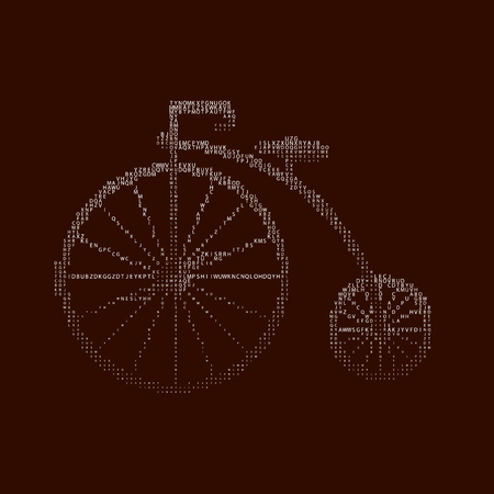 Penny-farthing icon white isolated on green background. antique old bicycle with large wheels Penny-farthing gradient from letters Illustration