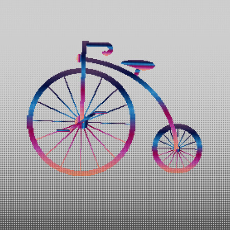 Penny-farthing icon white isolated on green background. antique old bicycle with big wheels. Multicolored antique old bicycle with big wheels Penny-farthing colored gradient from circles