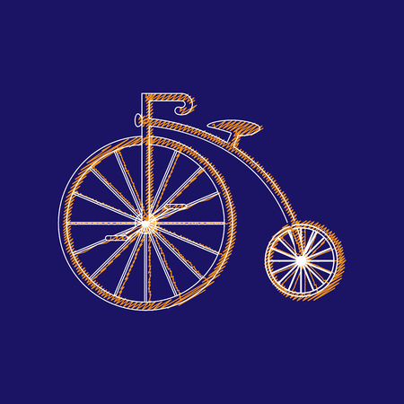 Penny-farthing icon white isolated on green background. antique old bicycle with big wheels. Vector illustration
