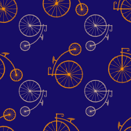 Penny-farthing icon white isolated on green background. antique old bicycle with big wheels. Vector illustration. Seamless pattern