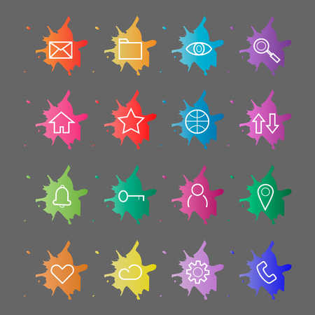 Web site internet icons. Line icons on a background of blots of paint. Vector