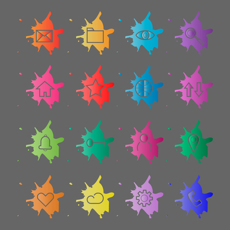 Web site internet icons. Line icons on a background of blots of paint. Stencil Icons. Vector Illustration