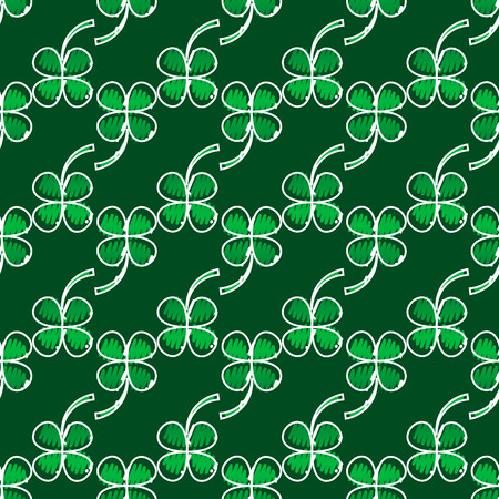 Irish four leaf lucky clovers background for Happy St. Patrick s Day. EPS 10. seamless pattern Illustration