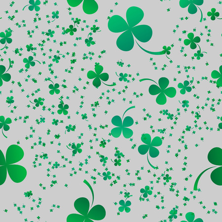 Irish four leaf lucky clovers background for Happy St. Patrick's Day seamless pattern