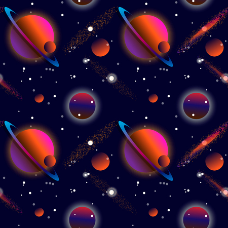 Realistic open space. The milky way, stars and planets. Alien planet background. Gas giant with planets.Vector cosmic illustration. Seamless pattern. 10 eps Illustration