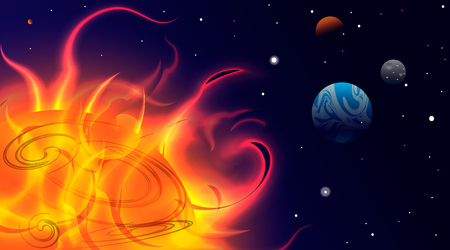 Planets in Space. Bright Sunlight in the Cosmos. Beautiful Planets on Gradient Background. Space Abstraction. Planets in Space. Sun with protuberances, view of the earth. Cosmos.