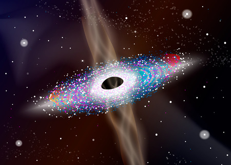 A black hole eating planets. Excess gas escapes from a black hole. Illustration