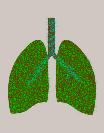 Lungs from green leaves. Energy saving concept or World Tuberculosis Day poster. Vector, oxygen for the earth