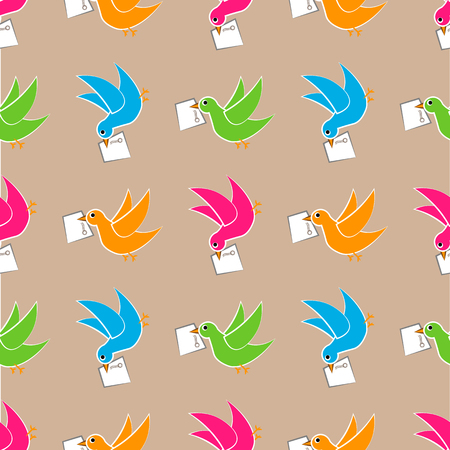 Bird delivers a message seamless pattern.