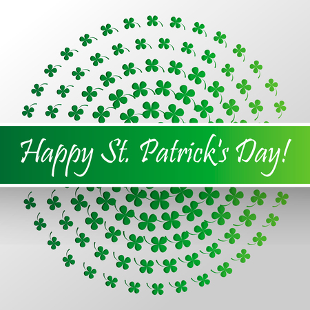 Happy Saint Patrick s Day celebration card with clover leaf. Paper cut Vector illustration.