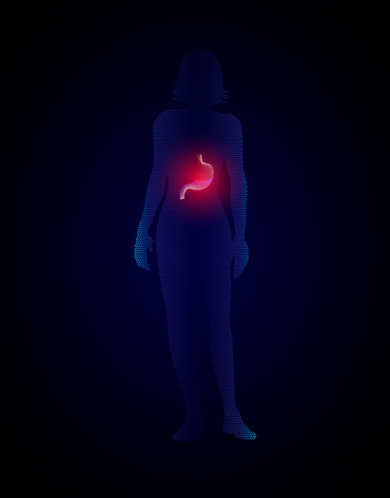 silhouette of woman with stomach, stomach cancer, stomach ulcer, medical illustration. 10eps
