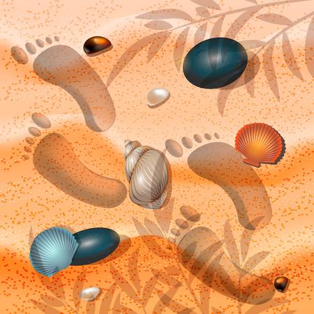 Summer background sand seashell and starfish illustration
